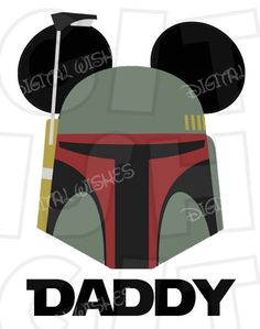 Boba Fett with Mickey Mouse ears Digital Iron on transfer clip art image INSTANT DOWNLOAD DIY for Shirt by DigitalWishes on Etsy https://www.etsy.com/listing/255075429/boba-fett-with-mickey-mouse-ears-digital