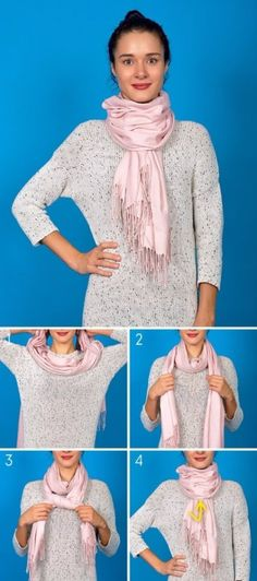 8 innovative Arten, den Schal im kalten Winter zu tragen… 8 innovative ways to wear the scarf for the cold winter … Ways To Tie Scarves, Ways To Wear A Scarf, How To Wear Scarves, Winter Outfits, Casual Outfits, Fashion Outfits, Womens Fashion, Fashion Scarves, Scarf Knots