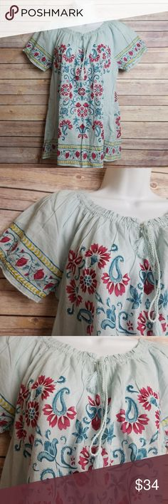 "Lucky Brand Blue Color Floral Peasant Tassel Top Lucky Brand Blue Colorful Floral Short Sleeve Peasant Top Tassels Size Medium  Excellent used condition- no rips, stains, smoke free home. Pit to pit: 19.5"" Shoulder to hem: 25"" Lucky Brand Tops Blouses"