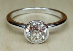 Old European Cut Diamond .80ct Bezel Set 14k White Gold Handmade Engagement Ring Custom Made OOAK Art Deco by DiamondAddiction on Etsy