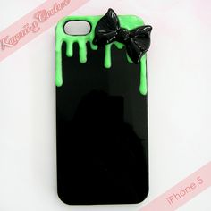 This listing is for a Custom Handmade iPhone 5 Decoden Case -- A black acrylic back case dripping with green glow in the dark icing (note - the icing is MATTE, not glossy!) and topped with an adorable black bow! ♡ Just snap on your phone for instant kawaii luxe sparkle & shine!