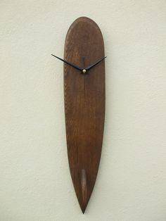 Hardwood dark antique plain surfboard longboard wall clock