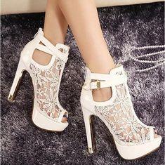 2018 New Lace Women Platform Pumps Sandals White Mesh Black High Heels Peep Toe Shoes | Wish