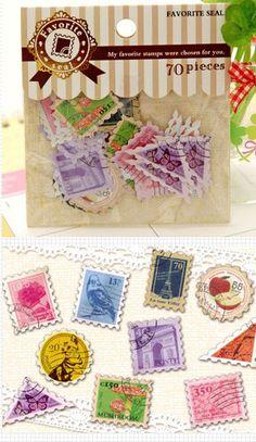 Stamp Sticker Set 70pcs  Scrapbooking Packaging by MiniatureSweet, $1.80