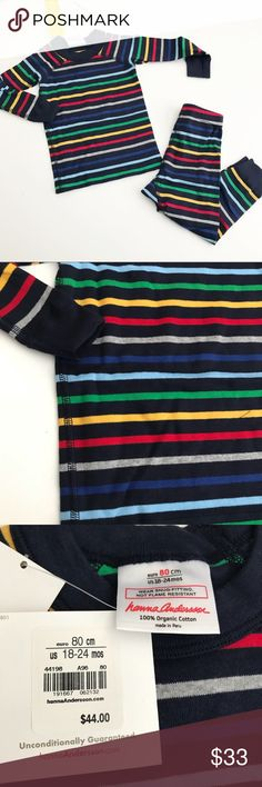 NWT! Hanna Andersson Striped Pajamas Brand new!  Multicolored striped organic pajamas. Size 80=18-24 months Hanna Andersson Pajamas Pajama Sets