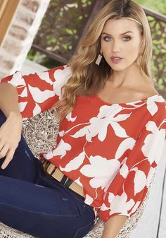 Gloria Vanderbilt, Sewing Clothes, Color Terracota, Floral Tops, Fashion Dresses, Female, Stylish, My Style, Lady
