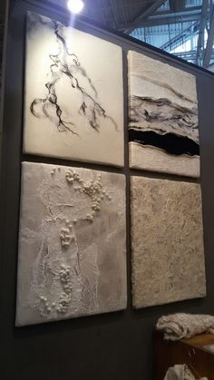 Felt - wall panels. Textural handmade felt. Black white grey. Marble lookalike.