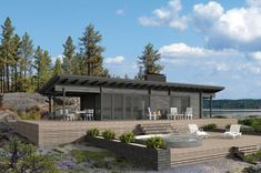 The Scandinavian and linear Kide showcases the mindset of the Finnish sauna. Summer Cabins, Prefab Cabins, Roof Design, House Design, Modern Architects, Box Houses, Small Buildings, Log Homes, Architecture Details
