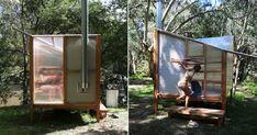 studio rain revives bathing culture with an off-grid sauna installation in melbourne Prefabricated Structures, Building A Sauna, Garden Cabins, Sauna Design, Diving Board, Ritual Bath, River Bank, Construction Process, Western Red Cedar