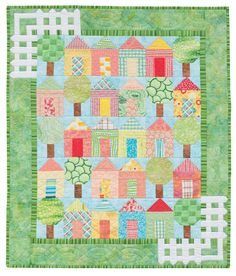 """It Takes a Village; 32 1/2″ x 38 1/2″, designed and pieced by Darra Williamson, machine quilted by Christine Porter, from  book, """"Cuddle Me Quick"""""""