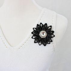 Black Flower Pin Black Corsage Flower Silver and Black Wedding Flowers Black Bridesmaid Flower Black Dress Pin Black Corsage Pin