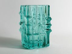 Mid Century Czech Glass Vase Turquoise By Vladislav Urban for Union-Sklo from the 60s by TomsVintageSalon on Etsy https://www.etsy.com/listing/230441118/mid-century-czech-glass-vase-turquoise