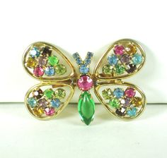 Judy Lee Multicolored Rhinestone Butterfly Pin by judysgems2 on Etsy https://www.etsy.com/listing/66877115/judy-lee-multicolored-rhinestone
