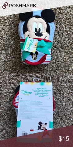 Mickey Mouse hooded towel & washcloth set Brand new with tag. Never used. Disney Accessories