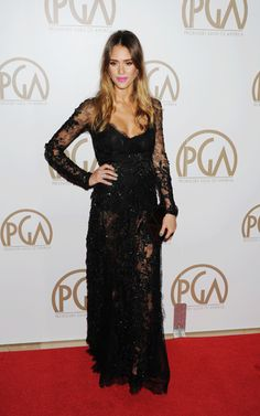 Jessica Alba in ELIE SAAB Haute Couture Autumn - Winter 2012 at the 24th Annual Producers Guild Award.