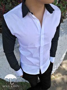 Camisa para Hombre Blanca con Mangas Negras de Puntos Blancos - TIENDAS PLATINO