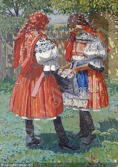 "Anton Frolka ""Girls in folk costumes Zezula, Brno"" Folk Costume, Costumes, Pastel Landscape, Folk Dance, Beautiful Patterns, Czech Republic, Art And Architecture, Folklore, Oil On Canvas"