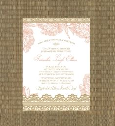 Printable Wedding Shower Invitation - Bridal Shower Invitation - Lace and Floral - Romantic Gold and Blush Pink. $15.00, via Etsy.
