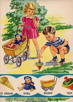 LITTLE GIRL & BOY PLAY WITH TOYS VINTAGE 1940s LARGE GRAPHIC ILLUSTRATION PRINT