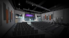 conceptual worship center design for riverbank church design and rendering by equip studio