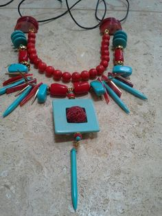 howlite, turquoise, coral, shell MOP
