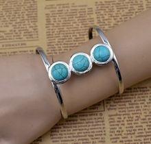 Plata Vintage pulseras redondas de color turquesa pulseras abofetean hombres brazalete de joyería bohemio pulsera femme brazaletes de puño tibetano(China (Mainland))
