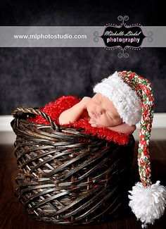 Christmas Elf Hat Crochet Baby Photography Prop