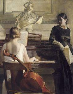 ♪ The Musical Arts ♪ music musician paintings - Georges Antoine van Zevenberghen   Adagio, c.1929