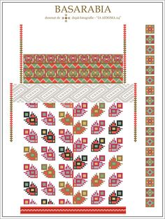 Semne Cusute: IA AIDOMA 024 - Basarabia, ROMANIA Folk Embroidery, Embroidery Patterns, Cross Stitch Patterns, Notebook Art, Palestinian Embroidery, Hama Beads, Romania, Beading Patterns, Diy Tutorial