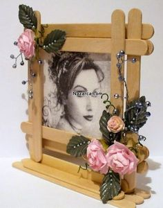 Adorned Ice Cream Stick Photo Frame for Bedroom Decor Popsicle Stick Picture Frame, Popsicle Stick Art, Popsicle Stick Crafts, Craft Stick Crafts, Craft Ideas, Diy Ideas, Kids Crafts, Diy Arts And Crafts, Crafts To Sell