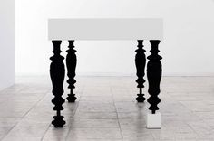 "White Table by Bauer Polla - I LOVE the ""odd-man-out"" leg!"