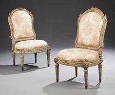Chaise à châssis d'époque Louis XVI. Estampille de  Louis Delanois, fin du XVIIIème siècle; 97 x 56 cm. Estimation: €70,000 - €100,000 (2012)