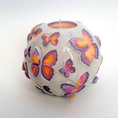 Big Round Butterfly Carved Candle, Mothers Day Carved Candle Gift Idea, Birthday Candle Gift for Her by LittleCandleShop on Etsy - Birthday Month Diy Candles Video, Candle Making Business, Soap Carving, Candle Art, Diy Candle Holders, Natural Candles, Beautiful Candles, Handmade Candles, Birthday Candles
