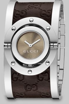 ♂ Gucci Stainless Steel & Leather Cuff Watch in Brown - Lyst