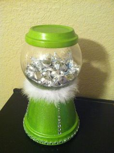 Jewel and glitter Lime green with white feather boa gumball clay pot candy dish