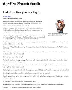 Very humbled and proud to be involved and support Red Nose Day New Zealand. Article from the New Zealand Herald. Red Nose Day, New Day, Sick, The Cure, Brand New Day