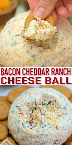 Cheddar Ranch Cheese Ball is the perfect Holiday appetizer made of cheddar cheese, ranch seasoning, and obviously bacon! A super easy recipe to make with only a few ingredients that is guaranteed to be a huge hit with your friends and family! Best Appetizer Recipes, Bacon Appetizers, Cheese Ball Recipes, Appetizers For Party, Ham And Cheese Ball Recipe, Easy Holiday Appetizers, Holiday Appitizers, Easy Recipes, Cream Cheese Ball