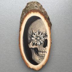 Wood slice with original drawing of a human skull door Inkspirednl