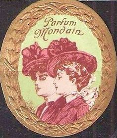 Vintage french label-- NOTE hard to pinpoint date. The wreath is very Beaux-Artes, but the ladies hats are a little too small, more Victorian.