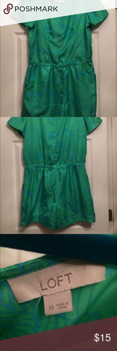 Loft Romper Loft romper, zips in back, 2 pockets, flowy top beautiful green and blue colors, cuffed sleeves and hem, 2 small snags on back barely noticeable LOFT Other