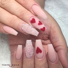 heart nail designs, Heart nail styles aren't just for Valentine's Day. you'll be able to conjointly produce cute hearts on your nails once you feel romantic Valentine's Day Nail Designs, Acrylic Nail Designs, Acrylic Nails, Nails Design, Coffin Nails, Heart Nail Designs, Pink Coffin, Nail Designs With Hearts, Stiletto Nails