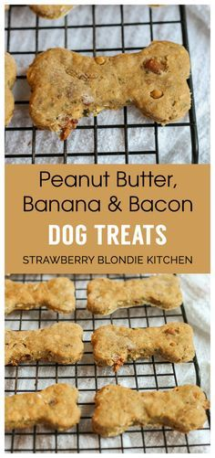 DIY Peanut Butter Bacon Banana Dog Treats-Make your pups something extra special with these DIY Peanut Butter Bacon Banana Dog Treats. Super easy, made with ingredients you already have on hand and your dogs are sure to love them! - Strawberry Blondie Kitchen