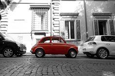 Classic Fiat 500, Rome, Italy.  Looks like a Daihatsu Mira Gino behind it very odd combo!