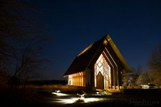 Powell Gardens Chapel - Night by Joseph Pollock Church Architecture, Architecture Design, Powell Gardens, Public Garden, Botanical Gardens, Missouri, Kansas City, Joseph, Places To Visit