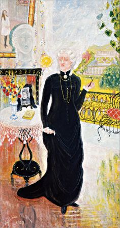 Florine Stettheimer (1871-1944), Portrait of My Teacher, Fräulein Sophie von Prieser, 1929, American. Oil on canvas. 96.5 × 50.8 cm. Courtesy of the Portland Art Museum (http://portlandartmuseum.org/), Portland, Oregon; gift of the Ettie Stettheimer Estate, 57.14.