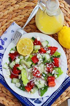 Greek Salad Recipe With Lemon Vinaigrette (The Comfort of Cooking)
