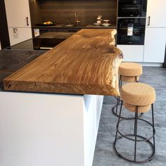 Our raw wood bar top went in today, and I am just IN LOVE. Our ...