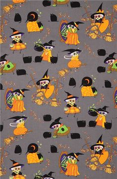 smoke Halloween fabric witch broom cat Alexander Henry USA