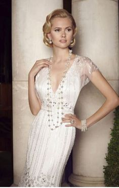 5bb2df898c1 Ronald Joyce 1920s Style Embellished Wedding Dress - UNWORN