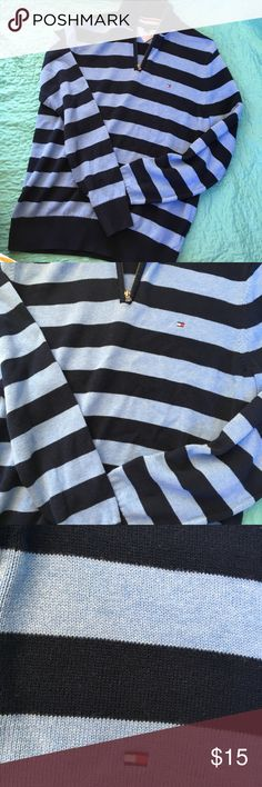 Tommy Hilfiger | Striped ZIP Up Size Medium - perfect condition pop over zip up! I love the light blue and navy color combo with this! Tommy Hilfiger Tops Sweatshirts & Hoodies